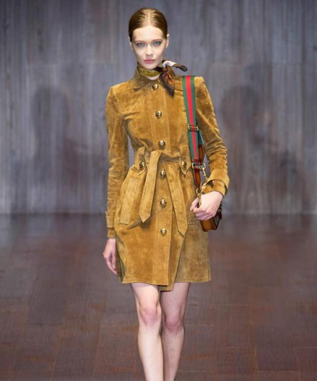 Gucci SS15 Suede Shirtdress