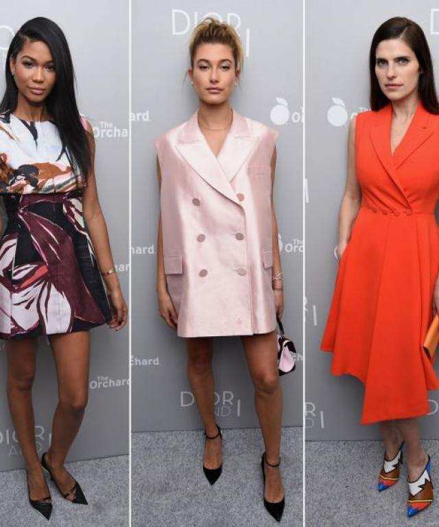 Chanel Iman, Lake Bell, and Hailey Baldwin at the Dior & I premiere.