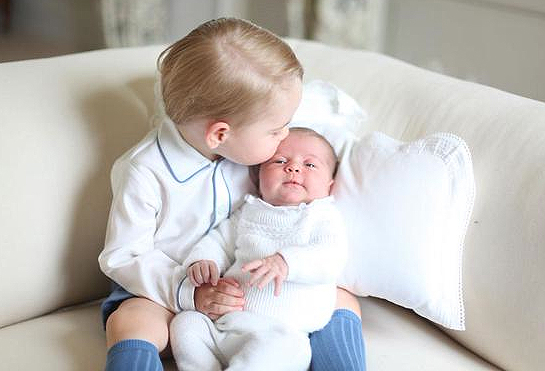 <p>Princess Charlotte Gets a Kiss from Prince George</p>