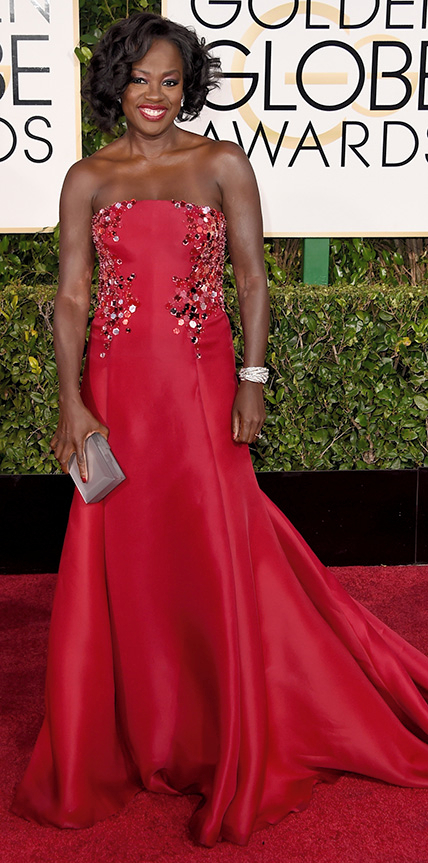 <p>Viola Davis at the 2015 Golden Globe Awards</p>