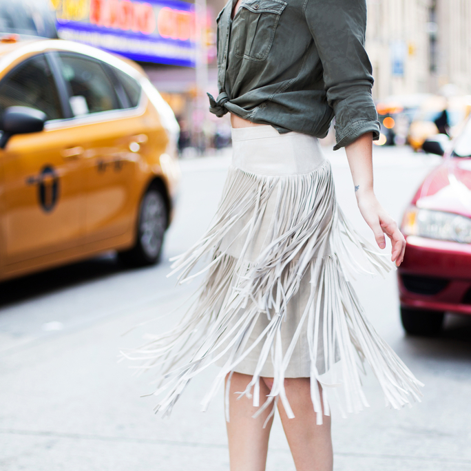 Fringe Skirt - Lead