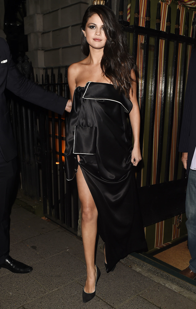 Selena Gomez Wears a Pajama-Shirt Dress for a Night Out, and It's Stunning
