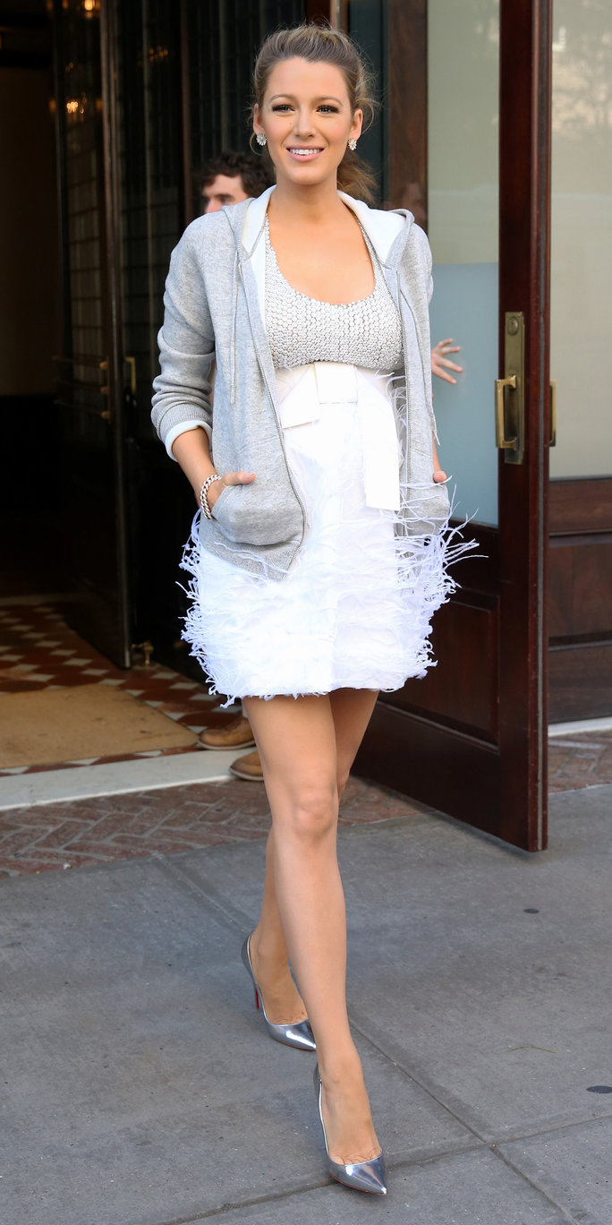Blake Lively Stuns in a Sparkly Mini Dress and a Hoodie in N.Y.C.