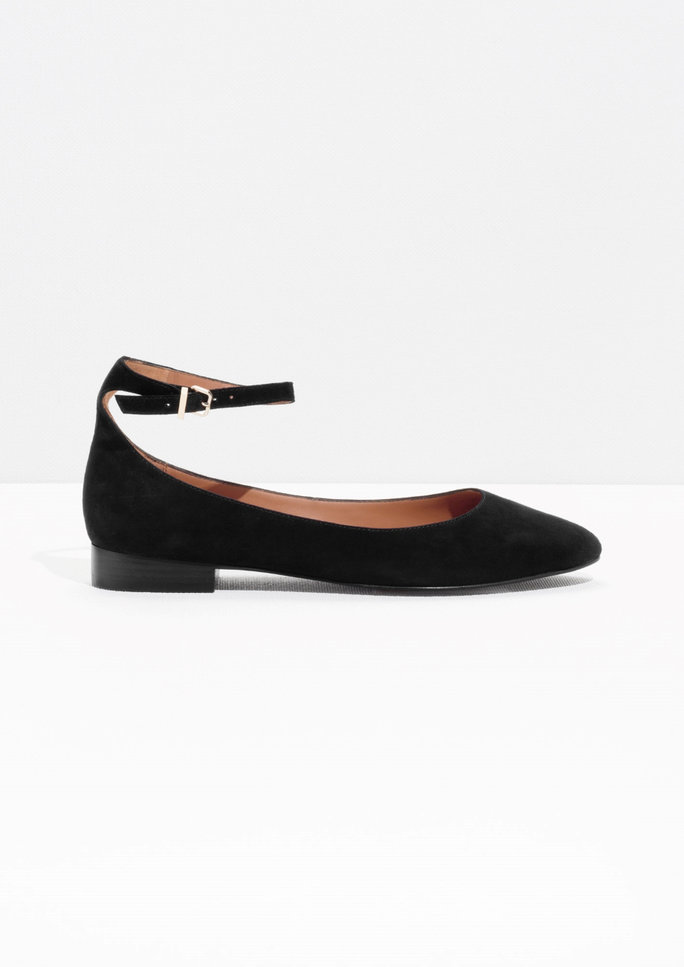 <p>Ankle Strap Suede Flats</p>