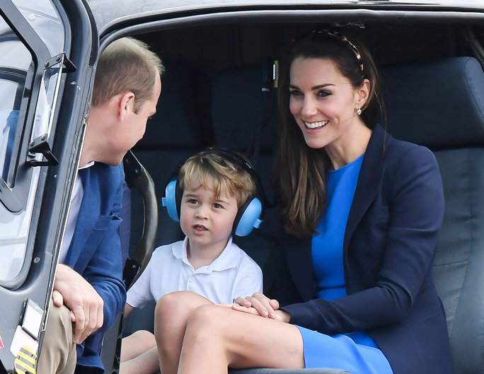 Prince George Sits in a Helicopter with Kate Middleton for His First Royal Engagement—See the Cute Moments