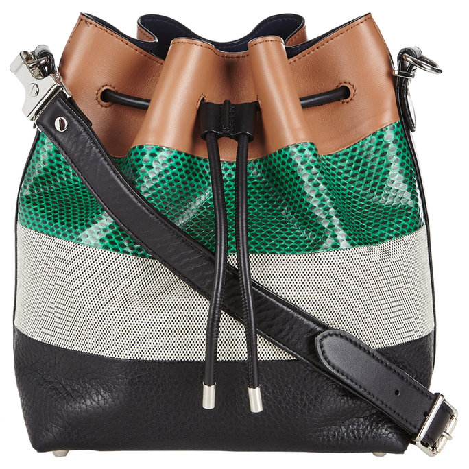 Proenza Schouler Striped Leather & Snakeskin Shoulder Bag