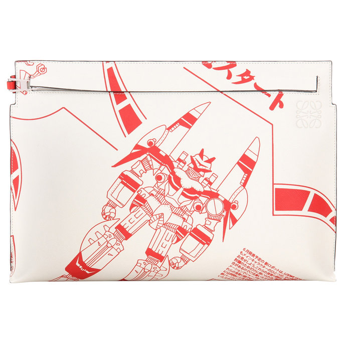 Loewe T Pouch Printed Leather Clutch