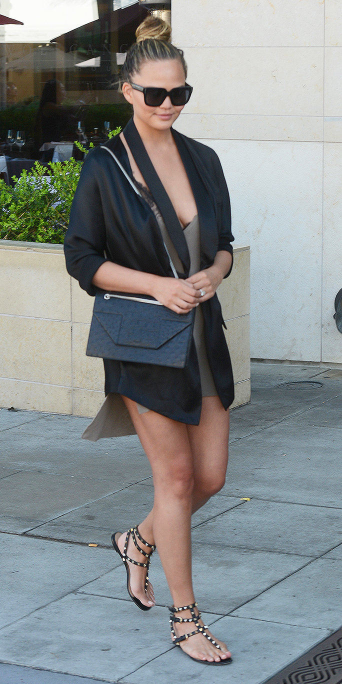 Chrissy Teigen Makes Lunch a Stylish Affair with a Tan Minidress and Silk Jacket