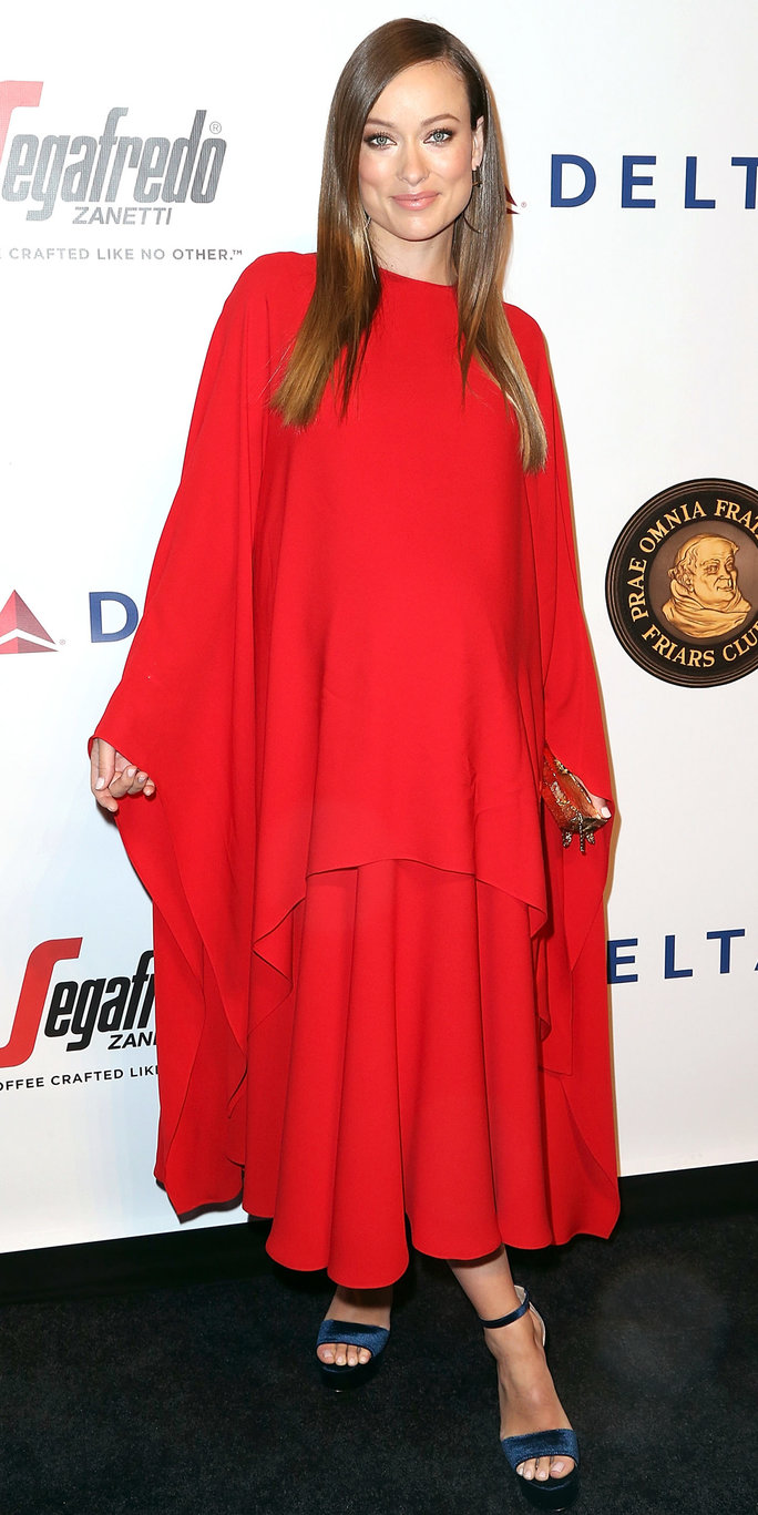 Olivia Wilde Wows Dressing Her Baby Bump in a Long-SleeveRed Valentino Maxi
