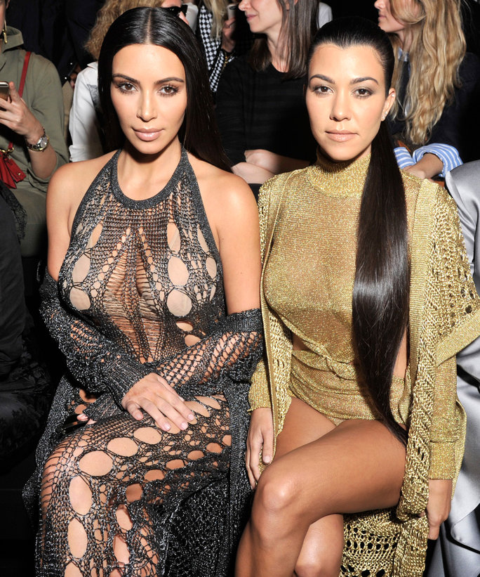Mandatory Credit: Photo by Swan Gallet/WWD/REX/Shutterstock (6046455c) Kim Kardashian, Kourtney Kardashian and Kris Jenner in the front row Balmain show, Spring Summer 2017, Paris Fashion Week, France - 29 Sep 2016