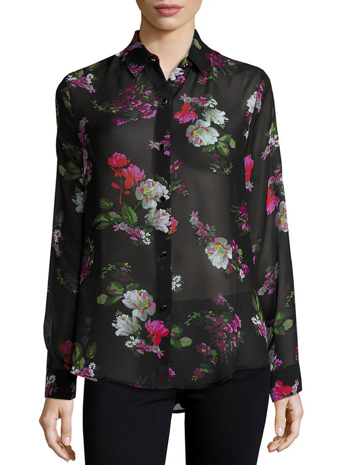 <p>Sheer Floral Blouse</p>