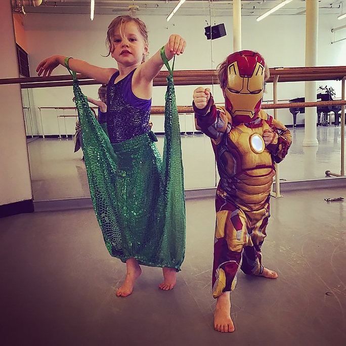 Gideon and Harper Dress Up for Dance Class