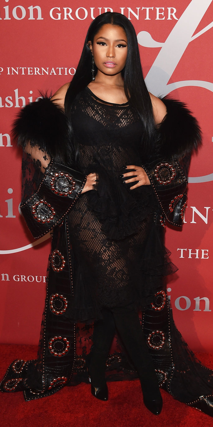Nicki Minaj Is a Gothic Queen in a Royal Cape and Sheer Givenchy Gown