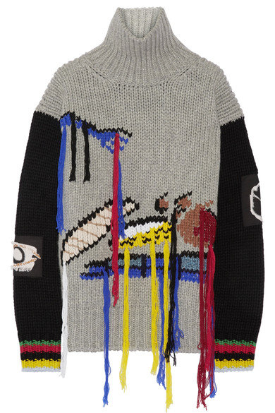 <p>Fruit Fringed Intarsia Wool Turtleneck Sweater</p>
