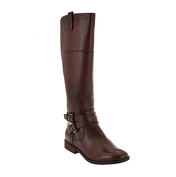 Wide Calf Leather Riding Boots - Audrey