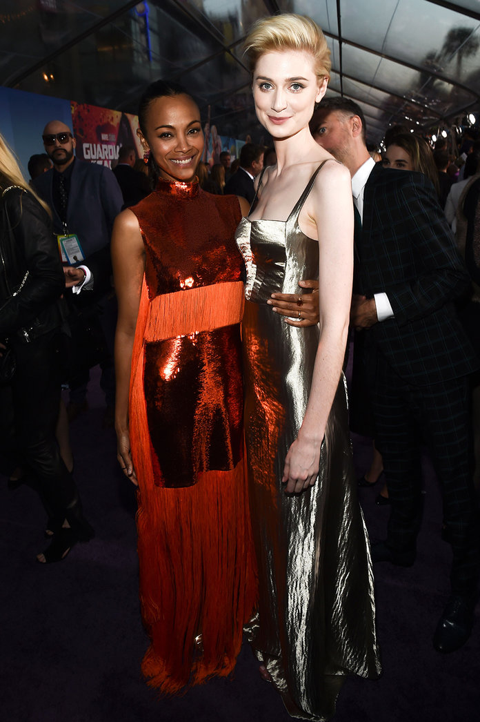 Mandatory Credit: Photo by Buckner/Variety/REX/Shutterstock (8618783br)                                 Zoe Saldana and Elizabeth Debicki                                 'Guardians of the Galaxy Vol. 2' film premiere, Arrivals, Los Angeles, USA - 19 Apr 2017