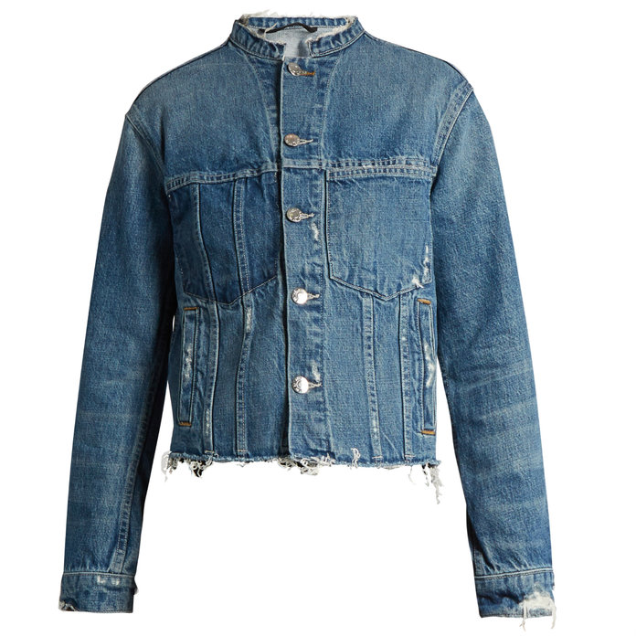 FRAYED CROPPED DENIM JACKET