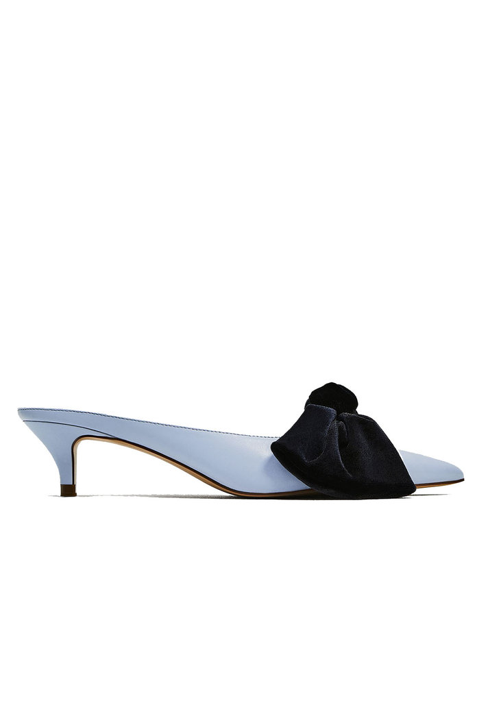 <p>Zara Blue Mules with Bow</p>