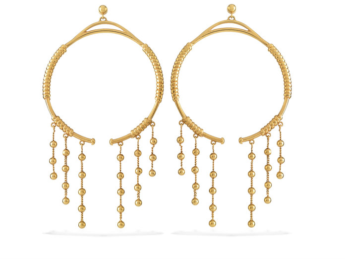 <p>GOLD FRINGE HOOP EARRINGS</p>