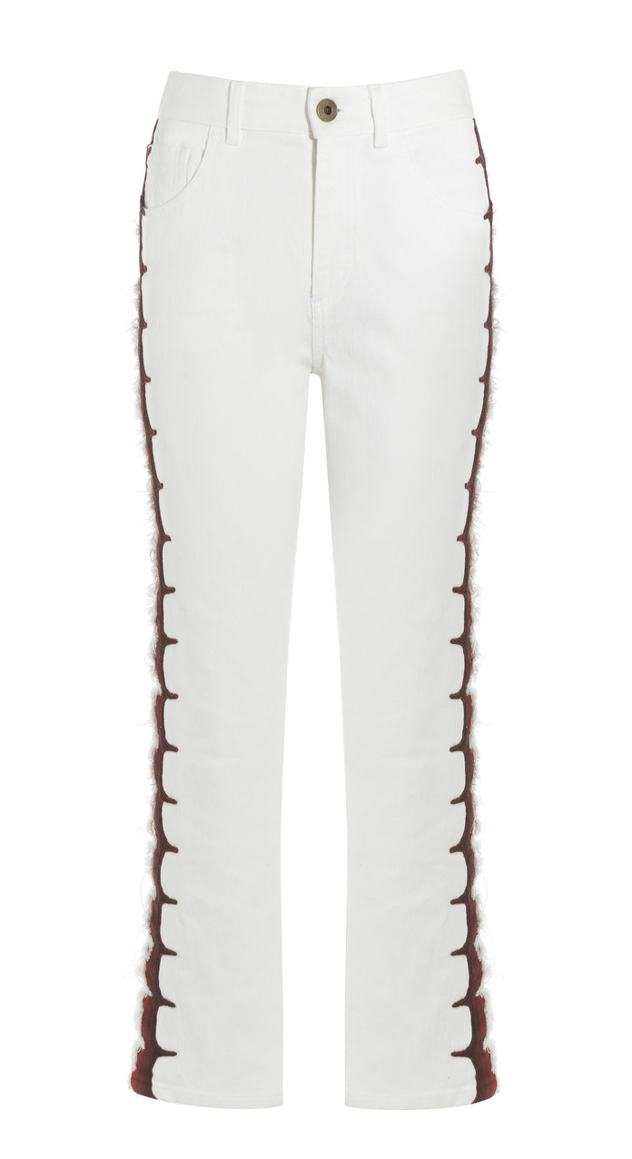 <p>cropped embroidered jeans</p>