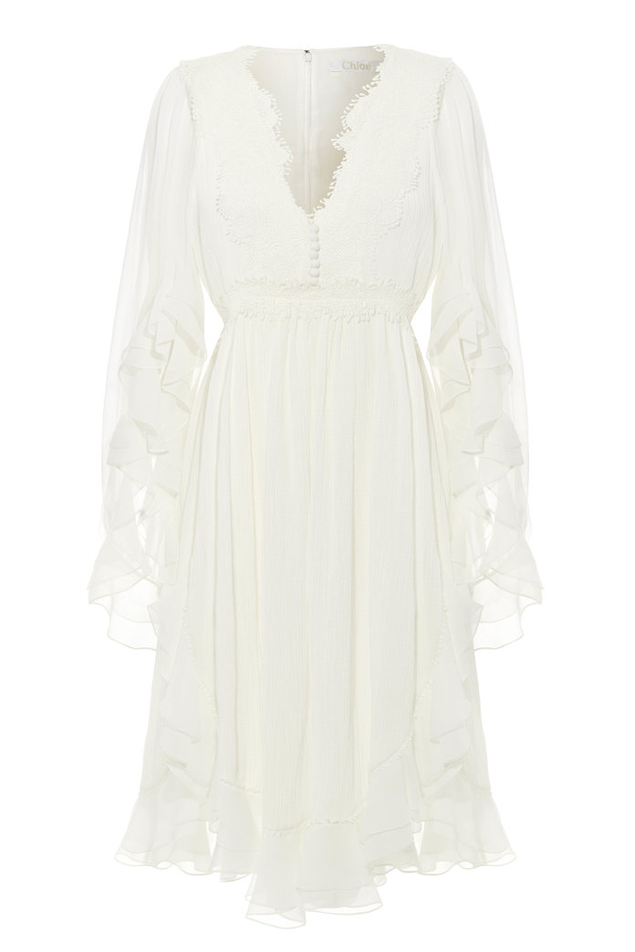 <p>RUFFLED LACE AND CHIFFON DRESS</p>