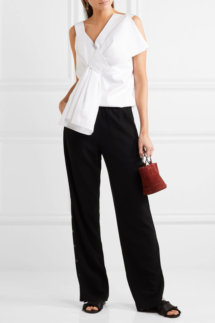 Knotted Cotton and Silk-Blend Crepe Top