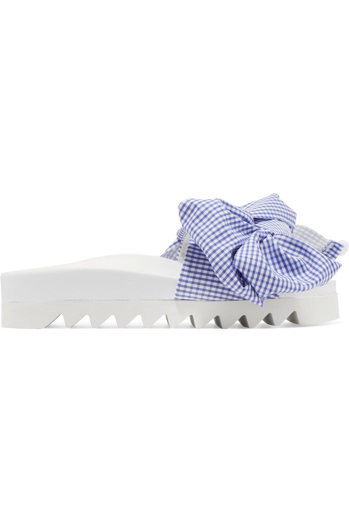 Gingham cotton and leather slides