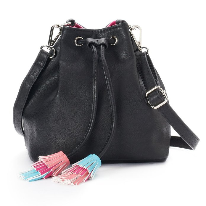BUCKET BAG WITH RAINBOW TASSELS