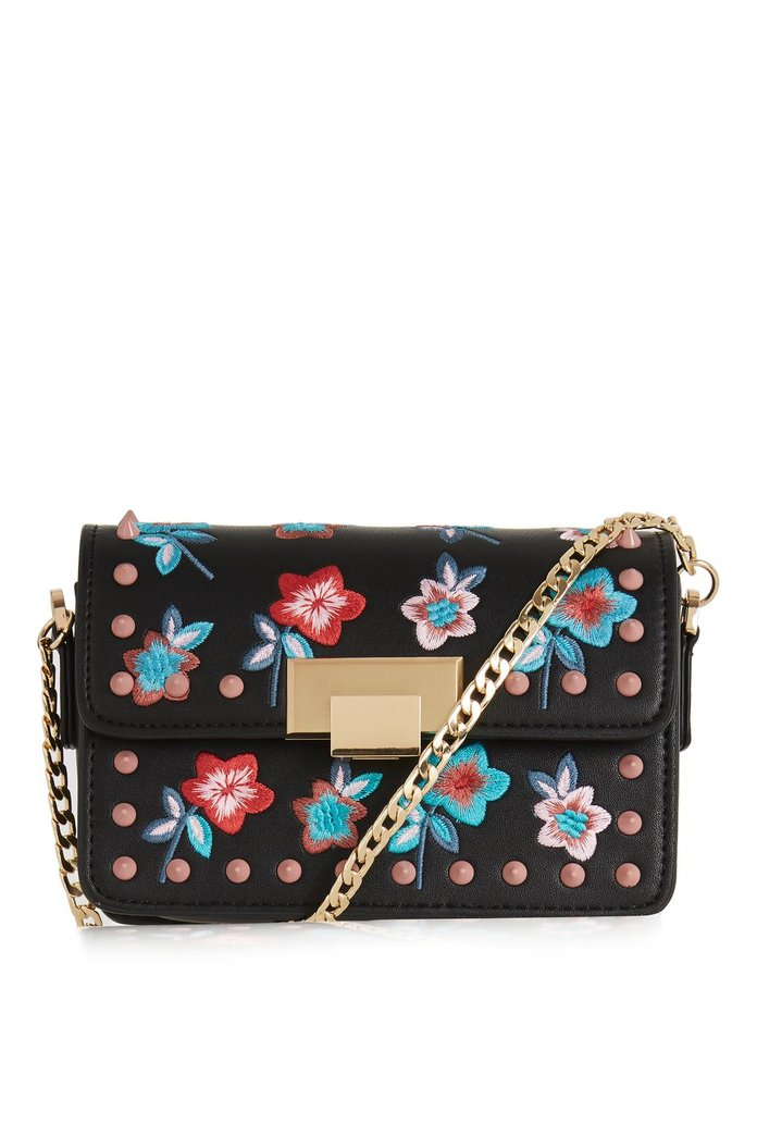studded floral crossbody