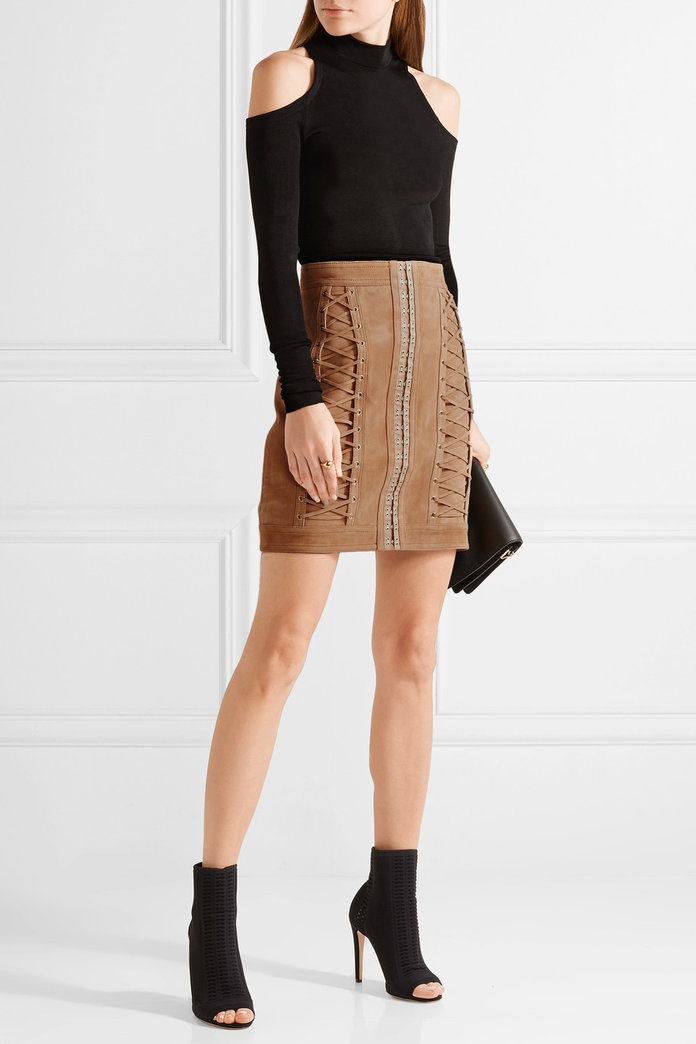 Lace-up suede mini skirt