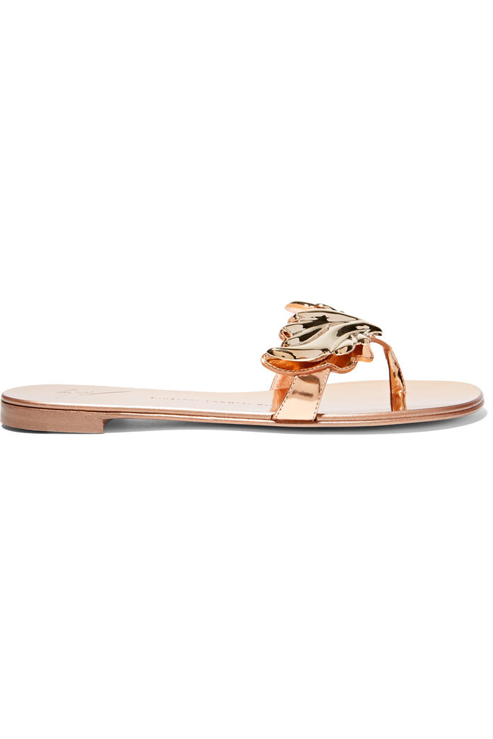 Embellished metallic patent-leather sandals