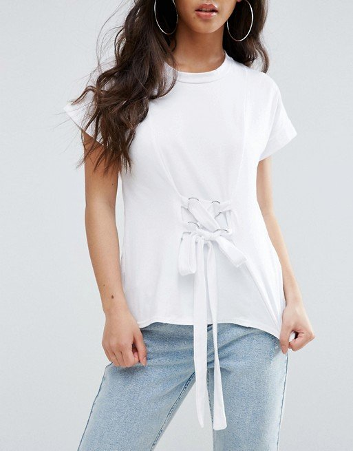 Boohoo Petite Lace Up Waist Detail T-Shirt