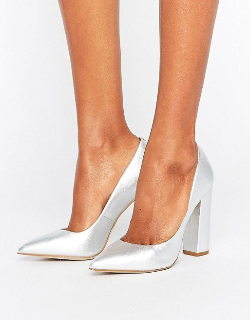 Steve Madden Primpy Metallic Block Heeled Shoes