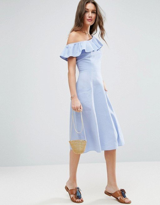 ASOS One Shoulder Ruffle Front Sundress
