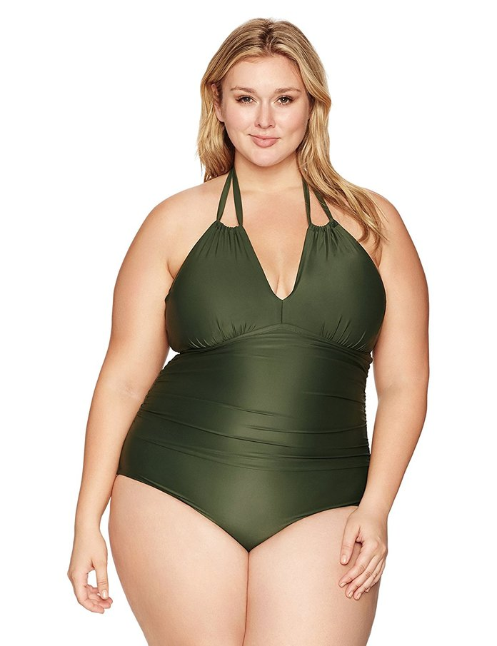 Convertible Halter Ruched One Piece Swimsuit
