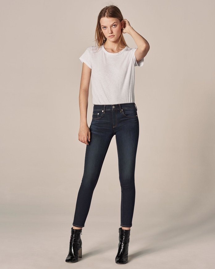 <p>The High Rise Ankle Skinny in Bedford</p>