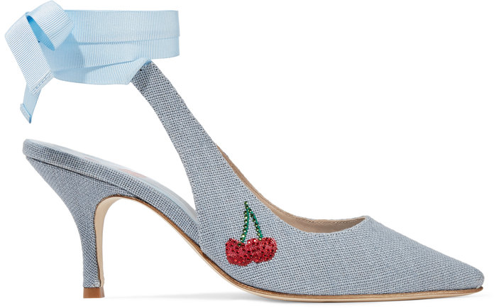 MR by Man Repeller Kitten Heel Embellished Linen Pump