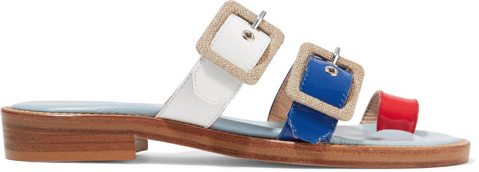 Straps canvas-trimmed patent-leather sandals