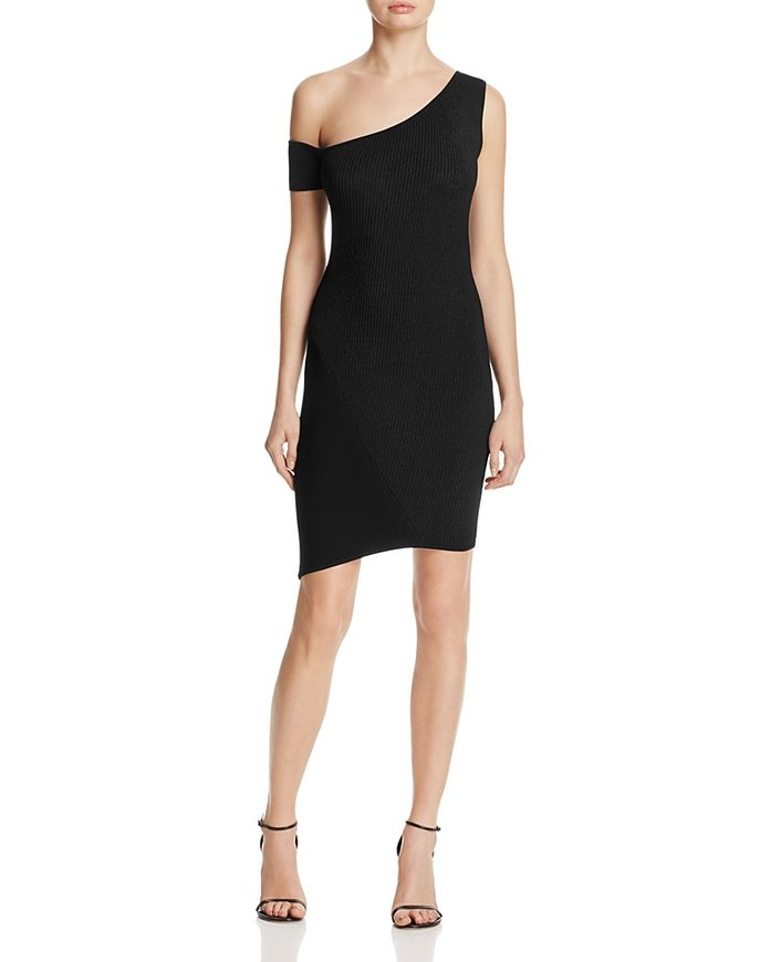 Kendall + Kylie One Shoulder Rib Knit Dress