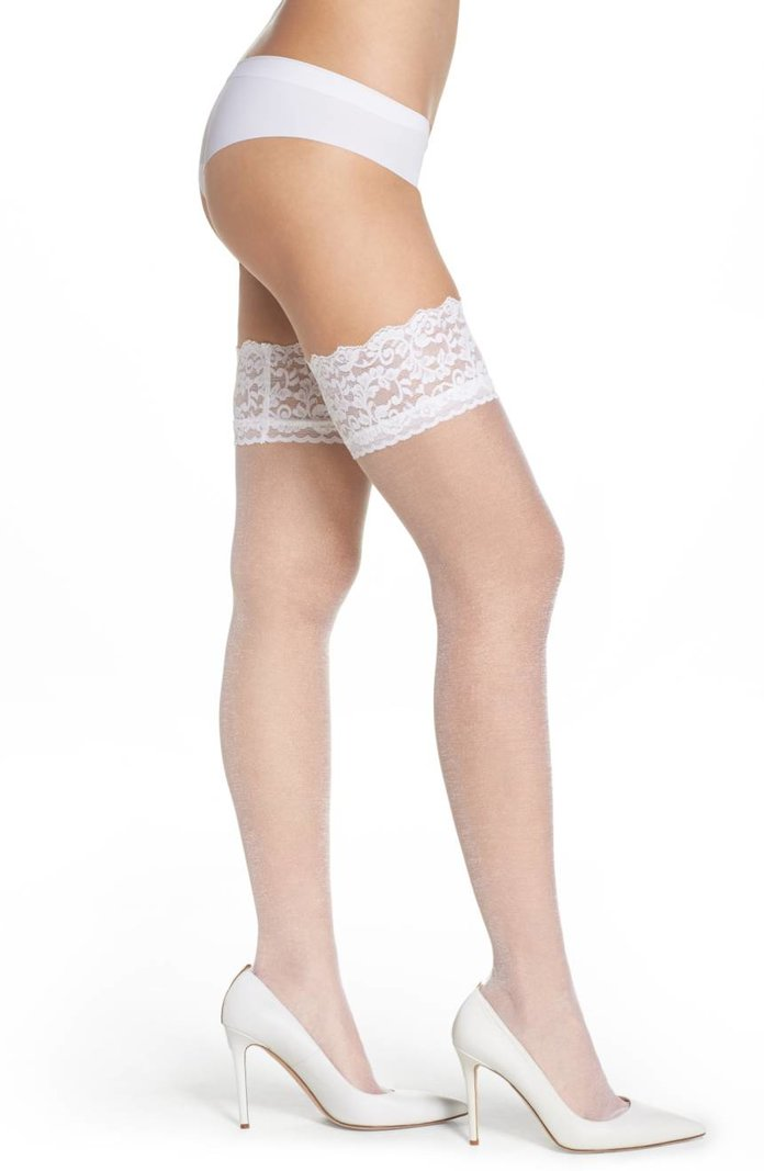 <p>thigh-high lace stockings</p>