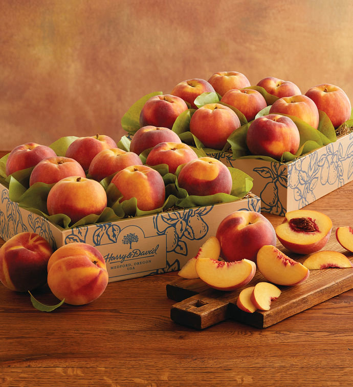 <p>Two Boxes of Oregold Peaches</p>