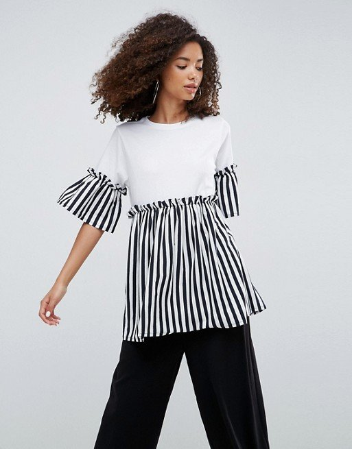 ASOS Top with Smock Stripe