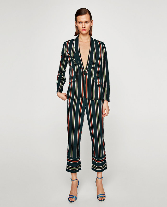 Zara STRIPED PYJAMA STYLE TROUSERS
