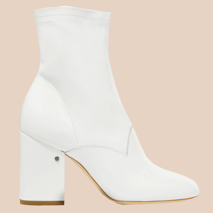 <p>Plume patent-leather ankle boots</p>