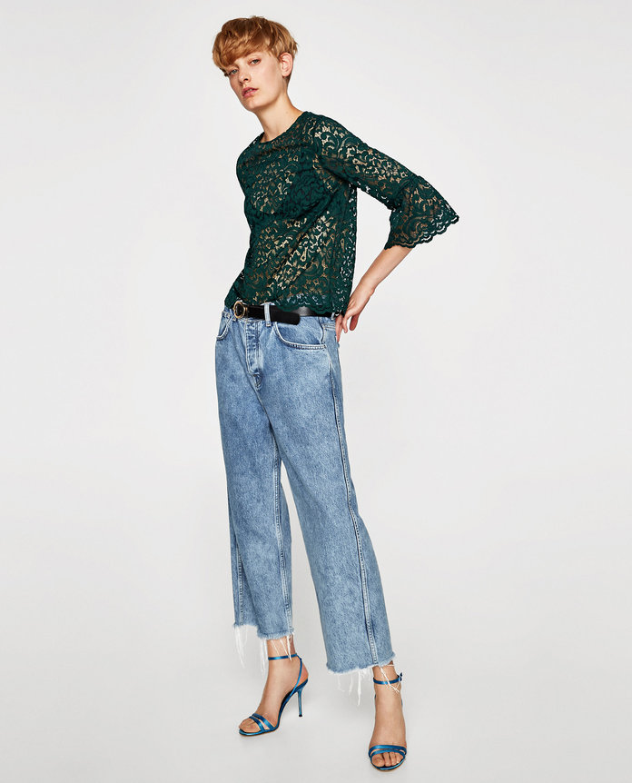 Zara LACE TOP WITH FRILLED SLEEVES