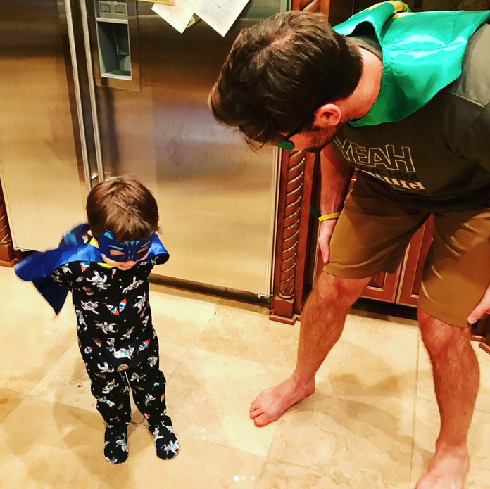 Carrie Underwood Had a Superhero Pajama Party with Her Husband and Son