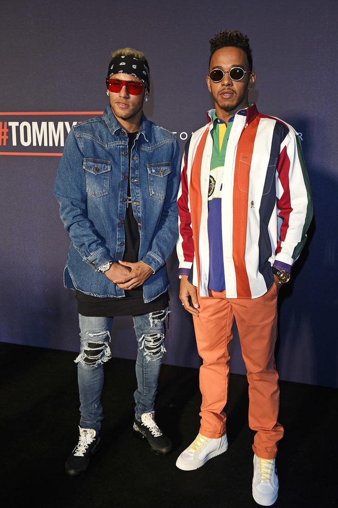 LONDON, ENGLAND - SEPTEMBER 19:  Neymar (L) and Lewis Hamilton attend the Tommy Hilfiger TOMMYNOW Fall 2017 Show during London Fashion Week September 2017 at The Roundhouse on September 19, 2017 in London, England.  (Photo by David M. Benett/Dave Benett/G