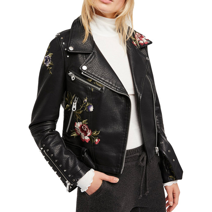 <p>Embroidered Moto Jacket</p>