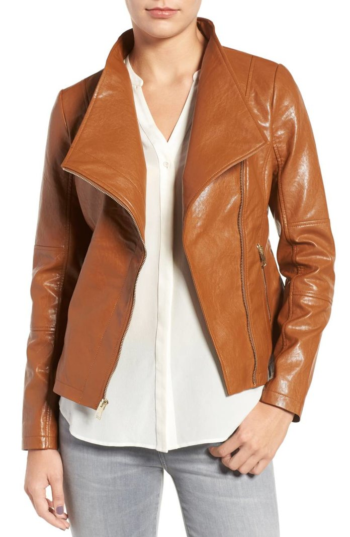 Guess Asymmetrical Faux Leather Jacket