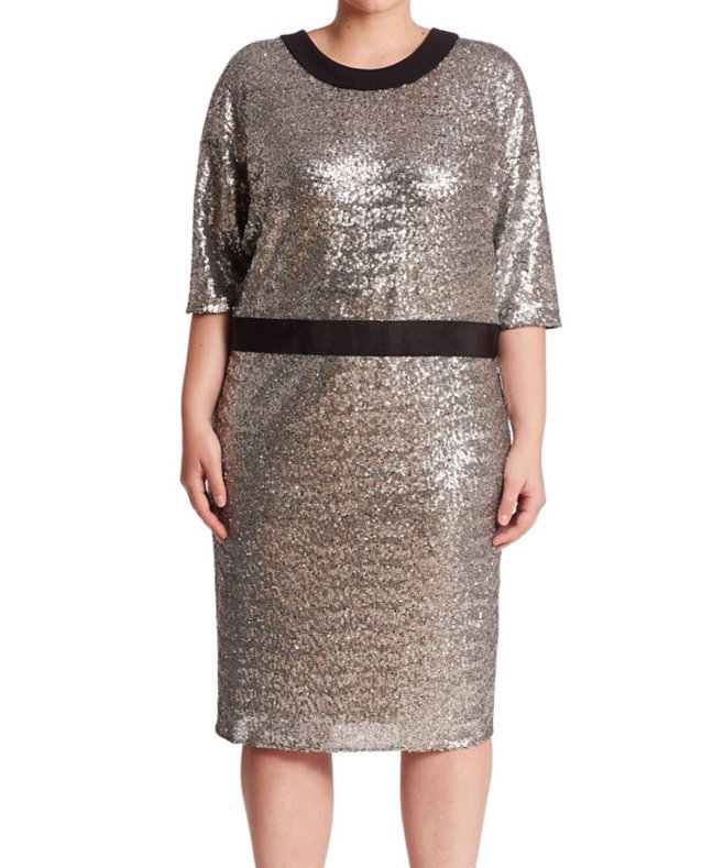 ABS's Domanin Sleeve Fitted Sequin Dress